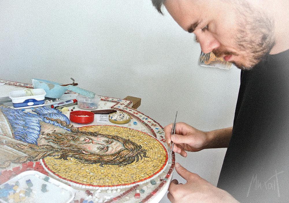 Milan Pilipovic mozaicar, Mosaic artist Milan Pilipovic, мозаик, mosaic art, byzantine mosaic